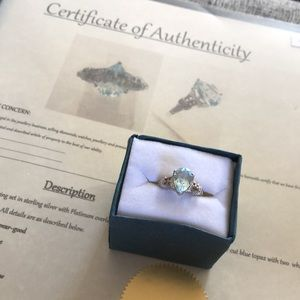 Blue Topaz & Diamond Sterling Silver Ring COA Sz8